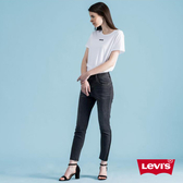 Levis 女款 721 高腰緊身窄管 / 彈性牛仔褲 / 撞色拼接 / 褲管不收邊 / 黑皮牌