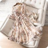 洋裝-桑蠶絲優雅氣質碎花喇叭袖V領連身裙73sz14【時尚巴黎】