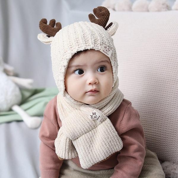 母嬰專營店 麋鹿角針織帽子圍巾兩件套 (1歲-2歲)【ZJA024】