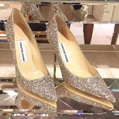 結婚鞋子水晶新娘2019秋冬季新款百搭亮片法式少女高跟鞋細跟網紅 錢夫人