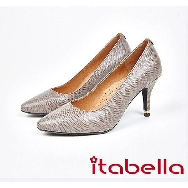 ★2017秋冬新品★itabella.牛皮素面尖頭高跟鞋(7578-80灰)
