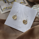 耳環 82022#法式珍珠小巧百搭貝殼耳釘氣質少女耳環 浪漫人魚貝殼耳釘D507紅粉佳人