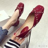 大碼低跟 漆皮水鑚淺口方頭低跟女單鞋35-41 - 古梵希鞋包
