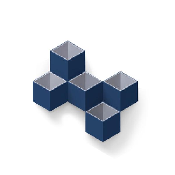 TOYOYO  trick box幾何造型文具收納架 - 深藍/深灰