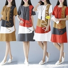 棉麻裙2020夏季新款韓版民族風女裝大碼寬鬆短袖拼接中長款亞棉麻連身裙  COCO