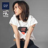 Gap男裝(男女同款) Jolin同款Music Tee系列Logo唱片印花短袖T恤 488143-白色