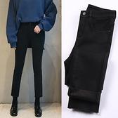 黑色牛仔褲女2020秋冬高腰顯瘦九分褲加絨寬鬆闊腿直筒褲秋裝 米娜小鋪