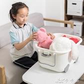 聚可愛玩具收納箱大號兒童衣服塑料整理箱滑輪有蓋卡通儲物箱YYJ YYJ卡卡西