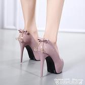 高跟鞋韓版12CM超高跟細跟單鞋女春甜美蝴蝶結水鑽公主鞋淺口高跟鞋 衣間迷你屋 交換禮物
