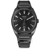FOSSIL / FS5824 / 黑時尚 簡約百搭 放射狀錶盤 日期 不鏽鋼手錶 鍍黑 42mm