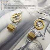 【粉紅堂 飾品】 時尚金銀配色銅管耳環