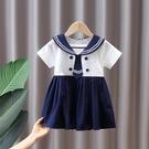 女童洋裝 女童連身裙夏裝海軍風2021新款拼接夏季小女孩洋氣寶寶公主裙子
