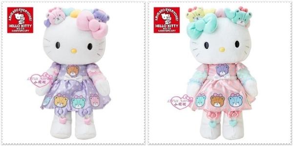 ♥小花花日本精品♥ Hello Kitty 絨毛娃娃布偶HUG玩偶彩色熊立體蝴蝶結收藏必備一對組紫色粉色