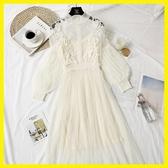 泡泡燈籠袖蕾絲立體花朵網紗吊帶連身裙兩件套中長款仙女長裙