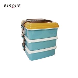 【日本BISQUE】3層野餐便當盒-L藍