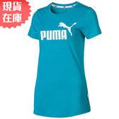 ★現貨在庫★ PUMA ESS No.1 Logo 女裝 短袖 上衣 棉質 亞規 粉藍【運動世界】85386928