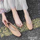 女鞋2021新款春季平底淺口單鞋瑪麗珍復古奶奶鞋一腳蹬鞋子豆豆鞋