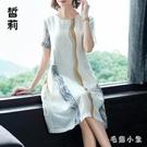 棉麻短袖連身裙2020新款夏寬鬆大碼洋裝胖MM女OL夏裝潮氣質女士裙子女 LR20827『毛菇小象』