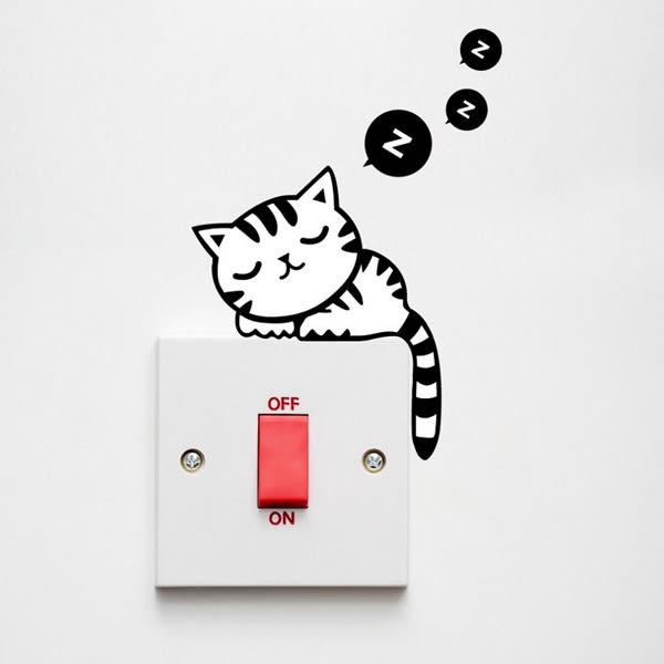 【BlueCat】ZZZ黑白虎斑貓睡覺牆壁貼紙/開關貼/壁貼