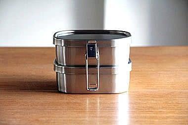 工房AIZAWA 不銹鋼便當盒 雙層角型環扣款-No.70127