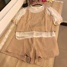 細肩帶背心雪紡衫短褲三件式套裝(M號/1...