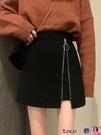 熱賣短裙 春秋短裙2021年新款外穿時尚早春毛呢半身裙女春季高腰A字裙裙子 coco