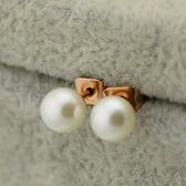玫瑰金 珍珠 純銀耳環(耳針式)-韓版時尚流行生日情人節禮物女飾品71at39【巴黎精品】