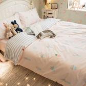 粉色仙人掌 S3單人床包雙人兩用被三件組 100%復古純棉 極日風 台灣製造 棉床本舖