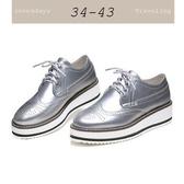 大尺碼女鞋小尺碼女鞋漆皮雕花松糕鞋樂福鞋厚底鞋休閒鞋牛津鞋銀色(34-43)現貨#七日旅行