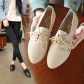 小皮鞋學生百搭休閒鞋尖頭平底鞋
