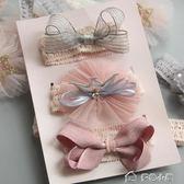 女寶寶公主皇冠蝴蝶結發帶禮盒兒童發飾套裝新生嬰兒發箍滿月禮物「多色小屋」