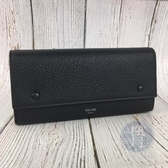 BRAND楓月 CELINE 黑色 黃色內裡 扣式 長夾 發財皮夾 錢包