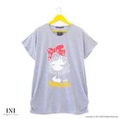 【INI】週慶限定、休閒著感風格長版上衣.灰色