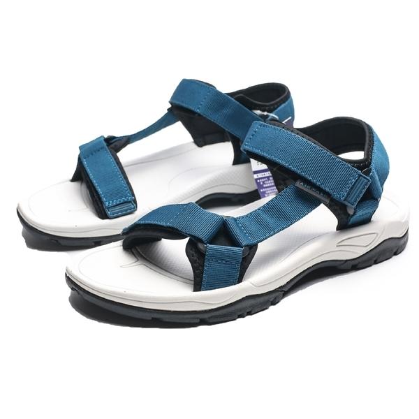 AIRWALK 白底 仗藍 兩條黏帶 魔鬼氈 涼鞋 男 (布魯克林) A821230182