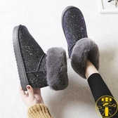雪地靴女鞋一腳蹬短筒懶人防水防滑冬季加絨棉鞋【雲木雜貨】