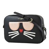 美國正品 KARL LAGERFELD 金字貓咪防刮皮革拉鍊相機包-黑色【現貨】