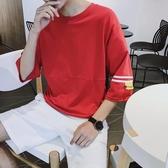 2019男士短袖T恤圓領潮韓版寬鬆半袖衣服五分中袖日系七分袖t桖男『摩登大道』
