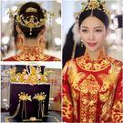 頭飾 中式復古新娘頭飾結婚金色中式古裝鳳...