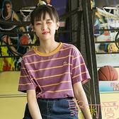 條紋短袖t恤女寬松學生森系韓版上衣【聚可愛】