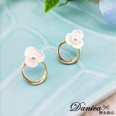 韓國少女氣質甜美煥彩花朵珍珠幾何圓圈925 銀針耳環S93349  價Danica 韓系飾品