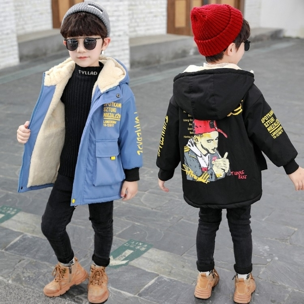 中大童韓版外套羽絨服 兒童加絨潮流夾克外套 羽絨外套男孩7Plus 派克服秋冬男寶寶棉衣