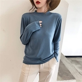 【藍色巴黎 】 純色半高領修身長袖針織上衣 針織衫 毛衣《7色》【28989】
