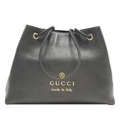 GUCCI 古馳 黑色牛皮編織肩背包 購物包 Gifford Large Shopping Bag 419689 BRAND OFF