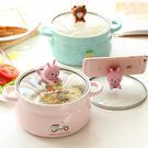 可愛大號泡面碗 日式創意帶蓋雙耳方便面杯學生宿舍陶瓷飯碗湯碗