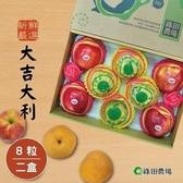 【南紡購物中心】綠田農場.嚴選大吉大利禮盒(蘋果x4粒+梨子x4粒/盒),共二盒