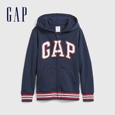 Gap男童 LOGO撞色字母連帽外套 598335-海軍藍