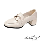 樂福鞋 復刻時尚雙金屬釦2WAY跟鞋(米白)*BalletAngel【18-C-3mi】【現+預】