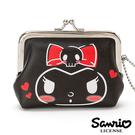 【日本進口正版】庫洛米 Kuromi 皮質 珠扣包 零錢包 卡片包 收納包 三麗鷗 Sanrio 546291
