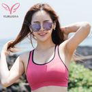 前胸及後背,採用雙層彈性吸濕排汗布 一體成型杯模厚約0.5cm,托高兼具防激突 台灣製造,品質保證