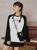 撞色 長袖t恤女2020年秋裝韓版新款百搭純棉寬鬆撞色趣味印花早秋上衣-米蘭街頭